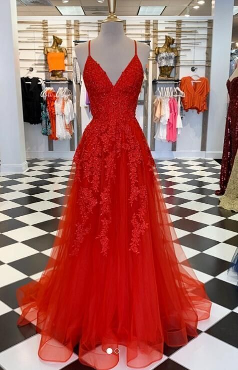 Red Lace Prom Dress, Prom Dresses, Evening Dress ,Formal Gown, Graduation Party