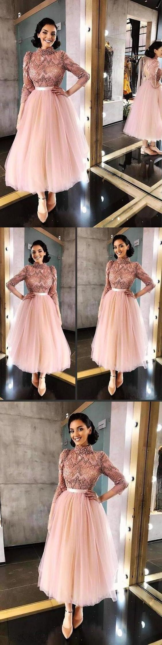 Long Sleeve Pink High Neck Ankle Length Homecoming Dresses Beads Tulle Short