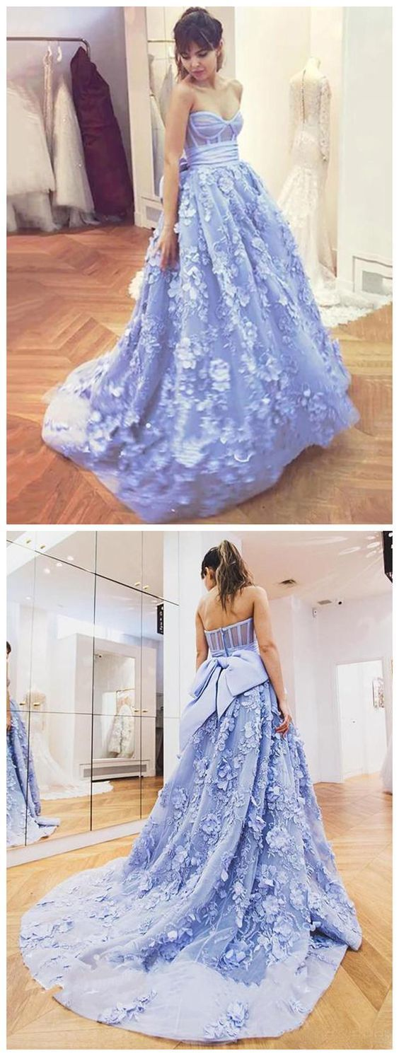 Sweetheart Lace Appliques Prom Dresses Evening Gowns With Bowknot 2697