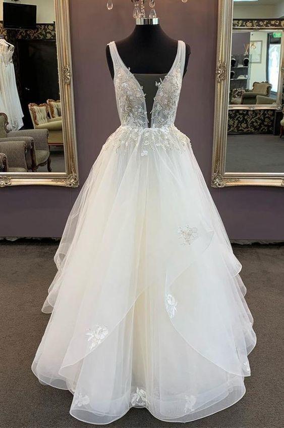 White v neck tulle lace long prom dress, white tulle evening dress,prom dress
