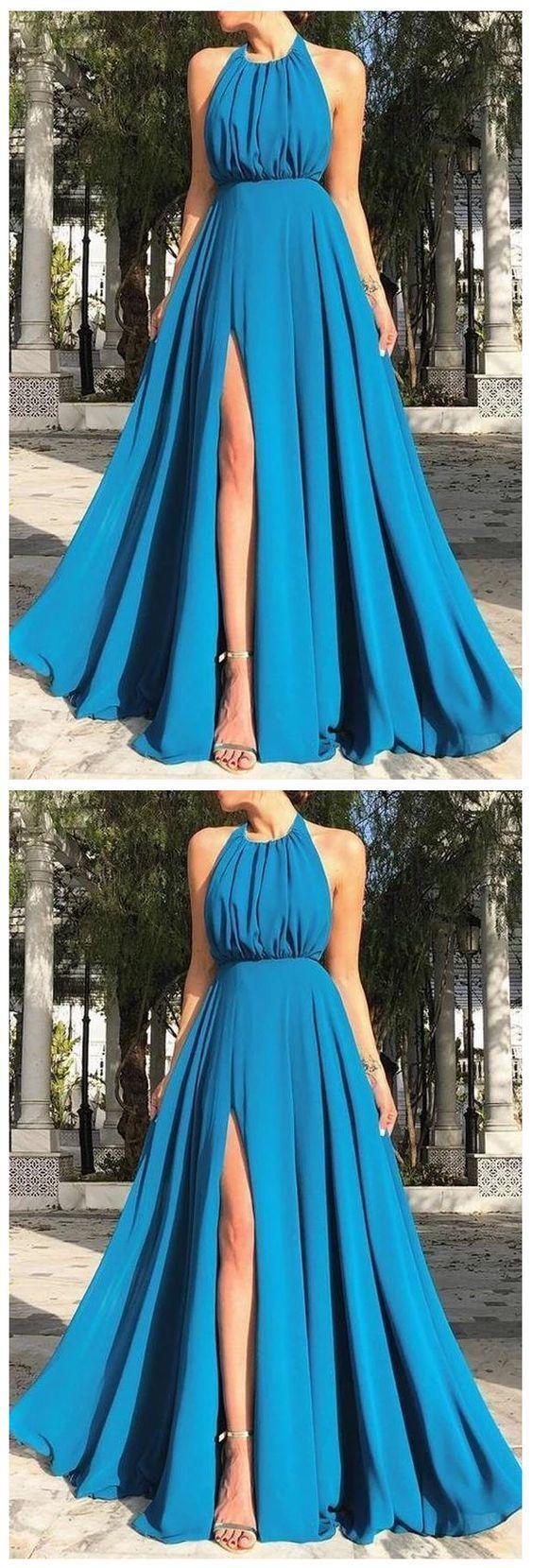 Sexy Sleeveless Halter Open Back Split prom Dress 2700