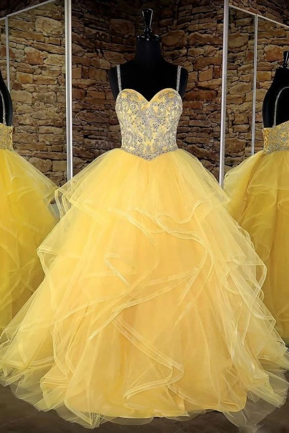 Yellow sweetheart tulle sequin long prom dress, yellow evening dress,prom dress