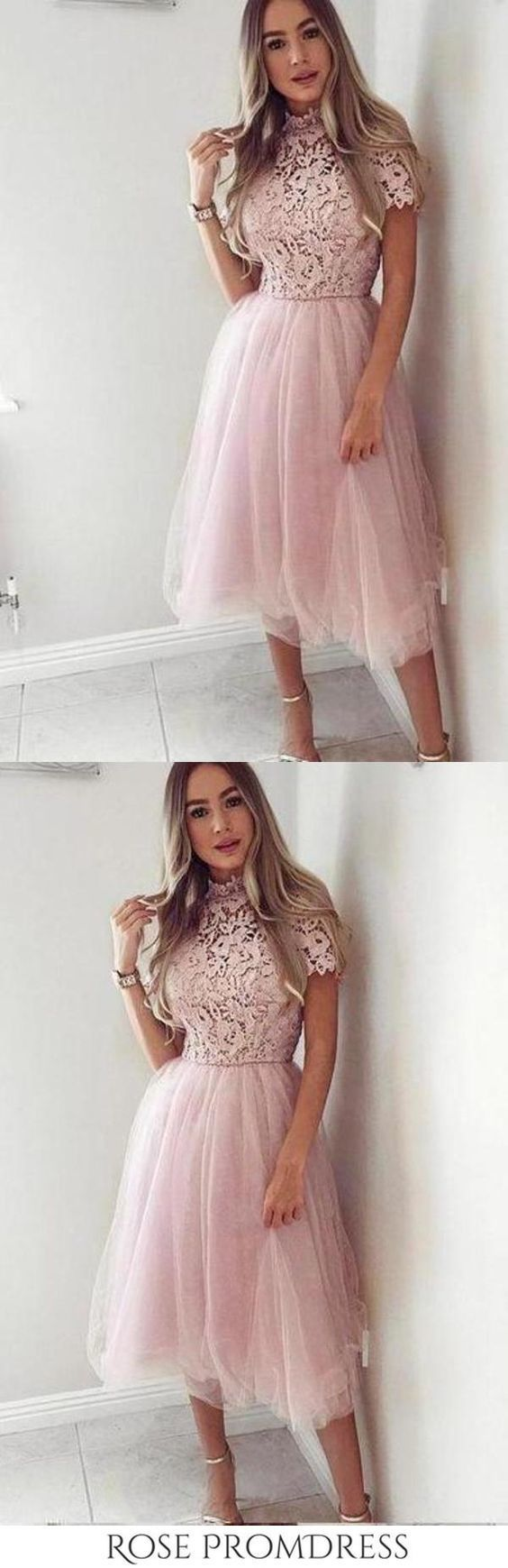 Pink Tea Length Tulle High Neck Short Sleeve Homecoming Dresses Short Prom