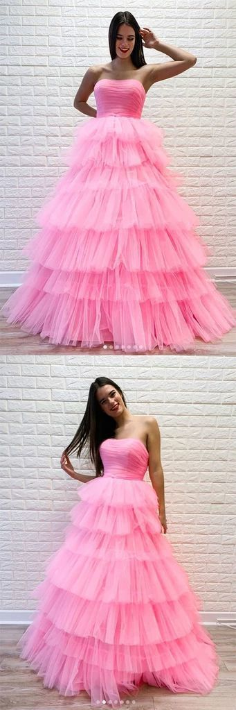 Pink sweetheart tulle long prom dress pink tulle formal dress ,prom dress