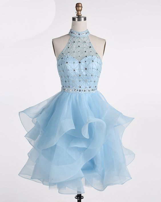 Ice blue Tulle Strapless Short Beaded Prom Dress, Homecoming Dress,prom dress