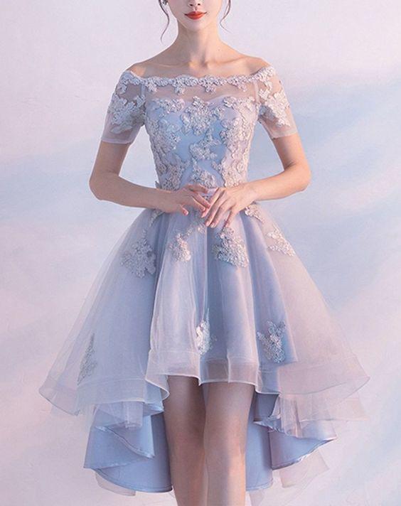 Customizing Off The Shoulder Bandage Homecoming Dresses, Light Blue