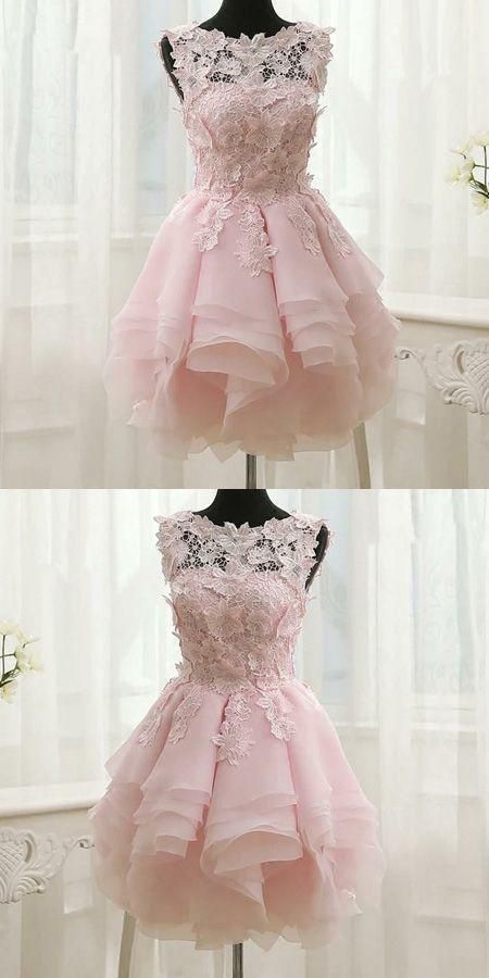 Boho Prom Dresses, Pink Appliques Organza Tiered Short Homecoming Dress,Simple