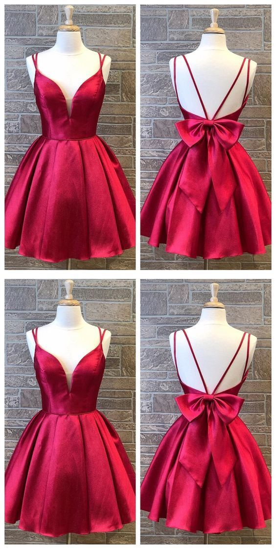 Cute Red Double Straps Satin Homecoming Dress with Bow Back,Simple Red Short