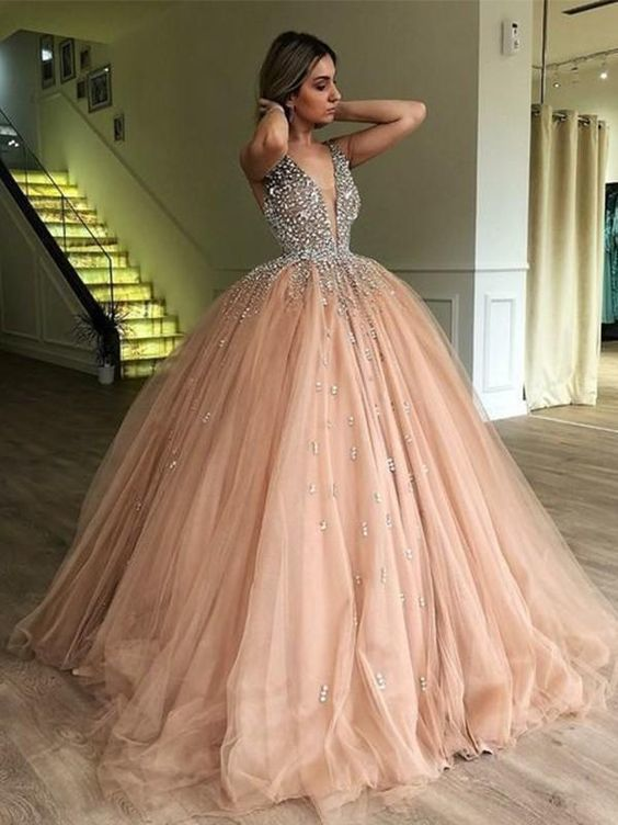 crystals ball gown prom dresses 2020 sleeveless v neck beaded champagne elegant