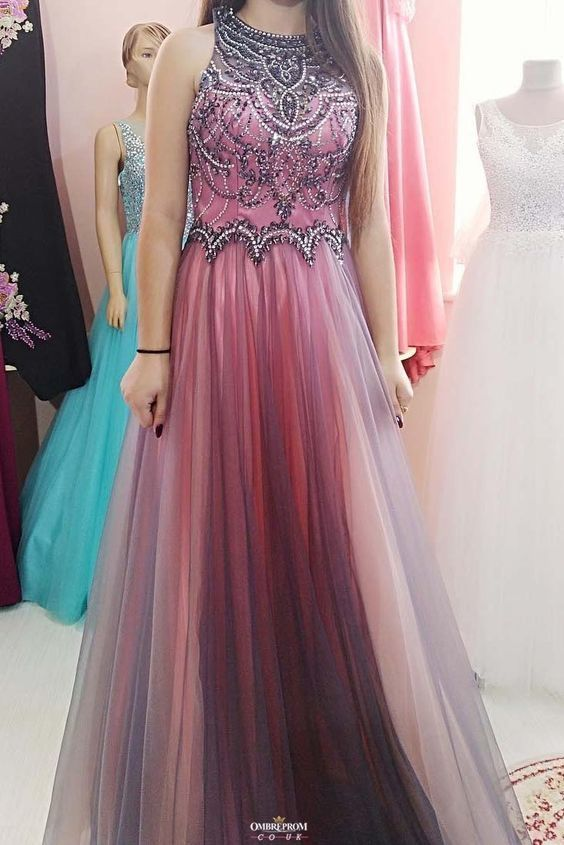o neck beaded prom dresses long 2020 crystals tulle elegant cheap senior formal