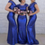 royal blue bridesmaid dresses long cap sleeve mermaid elegant sparkly wedding