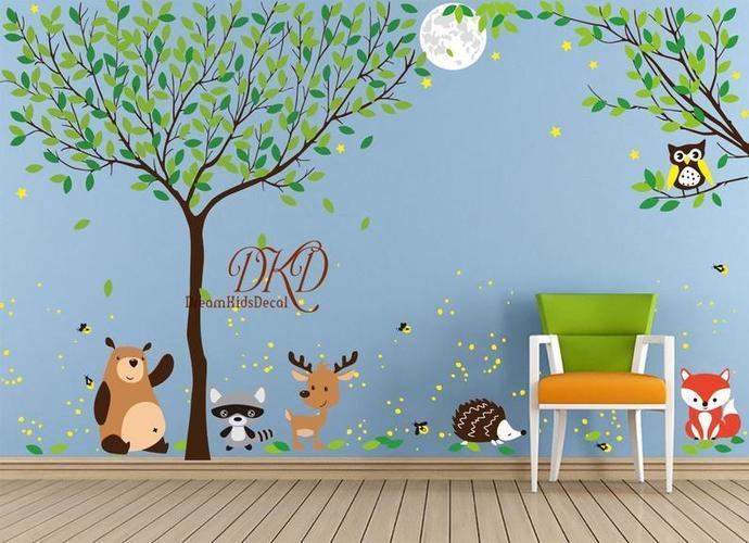 Jungle wall decal, Full Tree Wall Sticker, Woodland, Nursery, Home Decor-Night