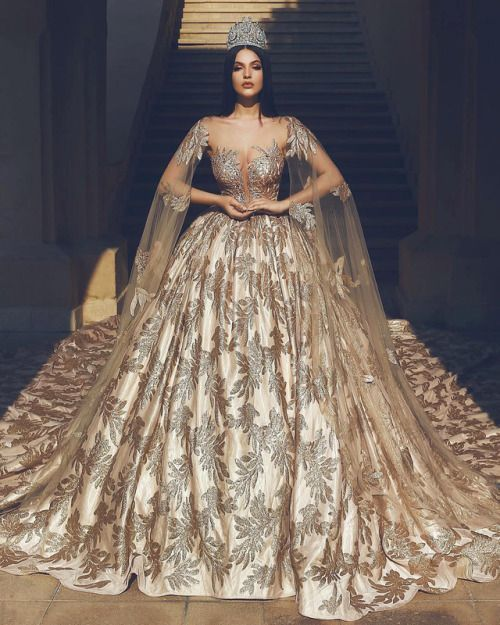 gold wedding dress ball gown lace appliqué elegant princess arabic style chapel