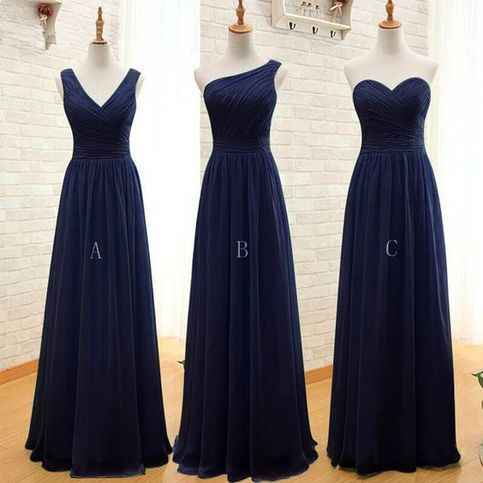 2020 navy blue bridesmaid dresses long mismatched chiffon cheap a line wedding