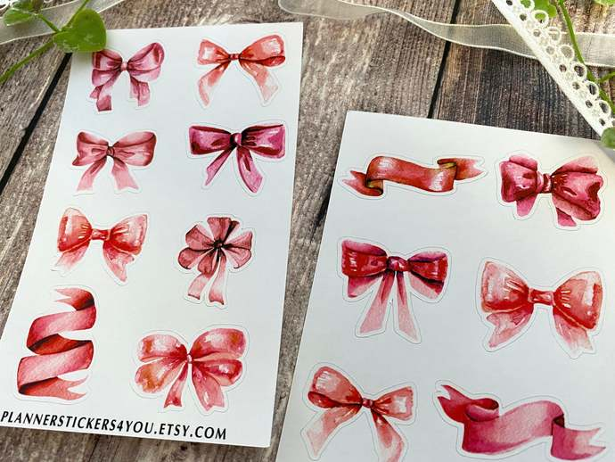 Pink Bows Journal Stickers, Aesthetic Stickers, Planner Stickers, Scrapbook