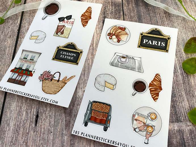 Paris Journal Stickers, Planner Stickers, Cute, Stationary, Travel, French,