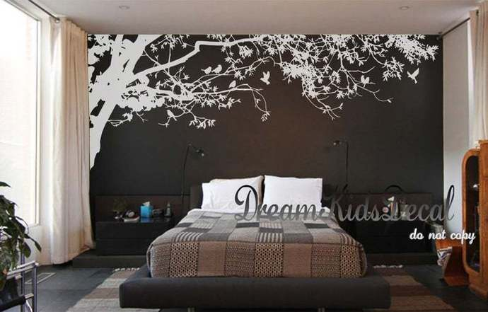 Wall Decals Nursery wall decals-Corner top tree branch-leafy tree branch decals