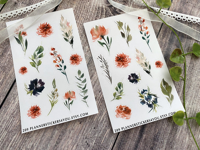 Vintage Flowers Bullet Journal Stickers, Stationary Stickers, Aesthetic