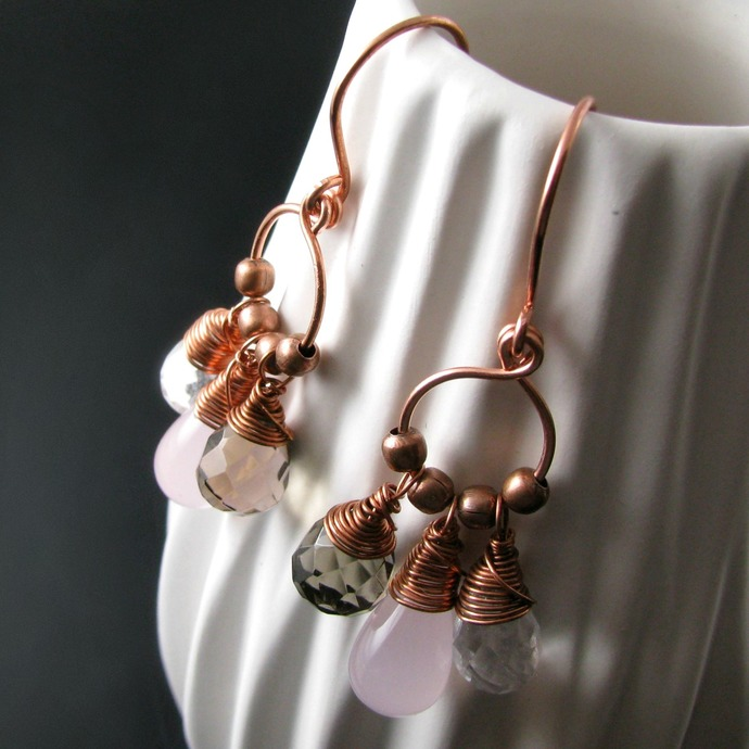 Dangly wire wrapped earrings with glass and stone drops