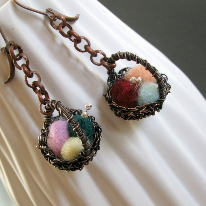 Copper wire crochet basket earrings with felted yarn balls