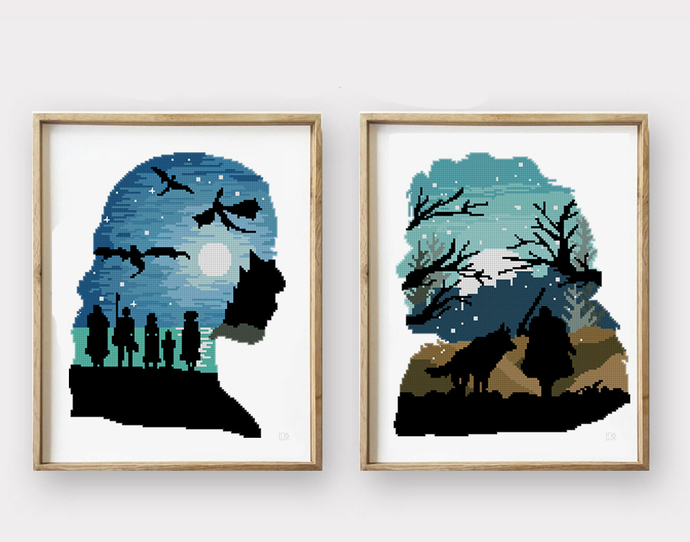 Wolf and Dragon counted cross stitch pattern forest winter silhouette -Cross
