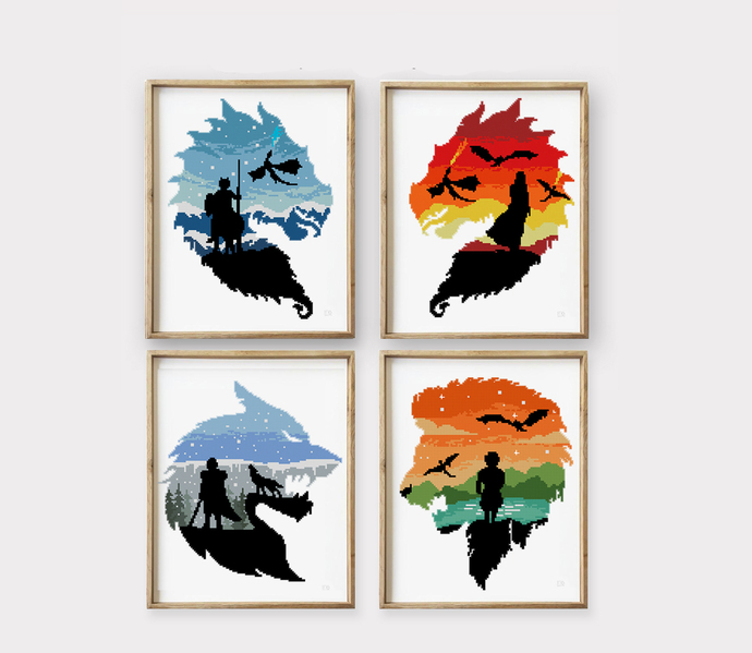 Dragons, Wolf and Lion set of 4 counted cross stitch pattern  - Cross Stitch