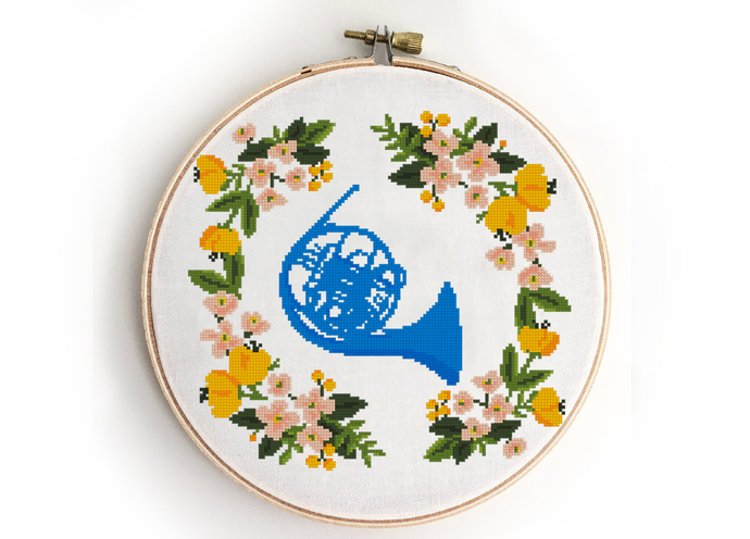 Blue french horn counted cross stitch pattern  ted mosby love couple tv How i