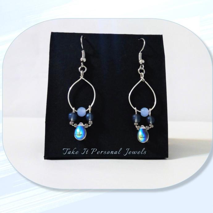Crystal AB Teardrop Swing Earrings Silver Jewelry