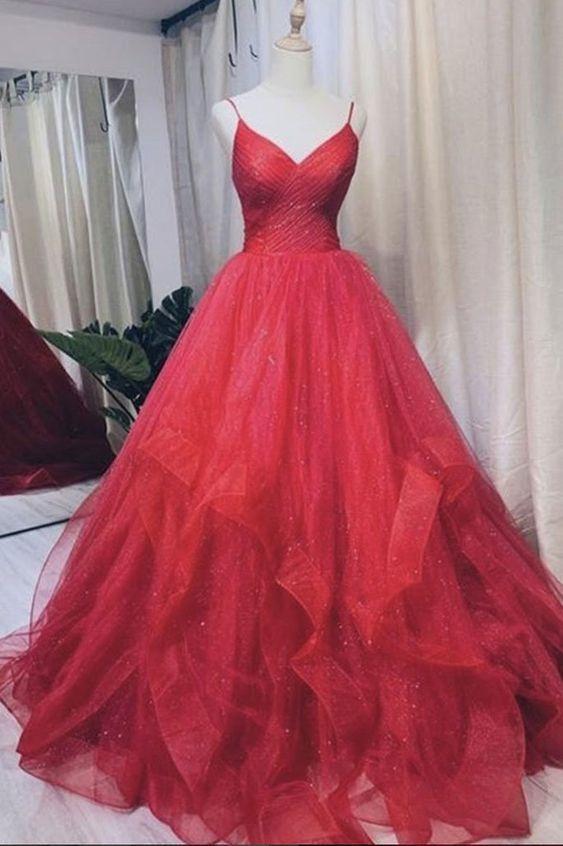 Burgundy v neck tulle long prom dress tulle formal dress,prom dress