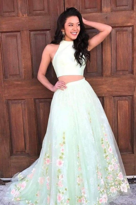 Chicloth Elegant Two Piece Mint Green Jewel Sleeveless A-line Floral Long Prom