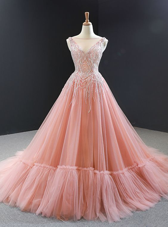 Pink Ball Gown Tulle Beading Backless Long Prom Dress,prom dress