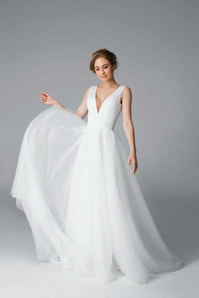 Sexy deep v-neck open back wedding dress, simple tulle wedding dress, Satin
