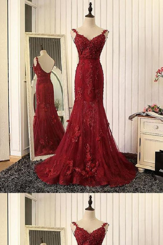 Outlet Luxurious Lace Red Wedding Dress, Red Mermaid Prom Dress, Prom Dress Red,