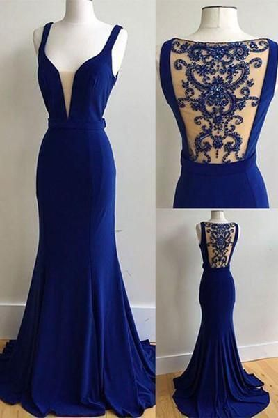 Elegant royal blue chiffon long beading prom dress, see through back halter