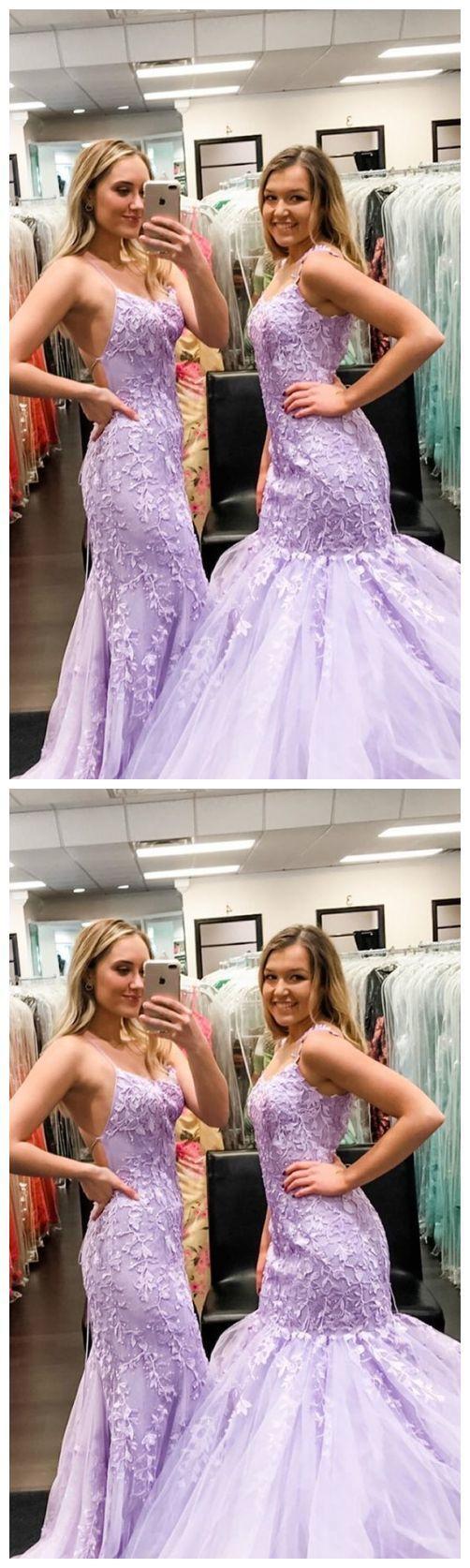 elegant mermaid prom dresses, lilac lace long prom dresses, formal prom dresses