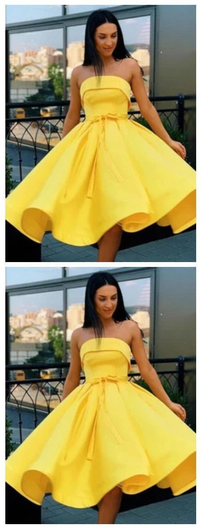 Simple Strapless Yellow Homecoming Dresses Short Prom Dresses 2735