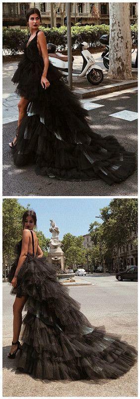 A-Line V-Neck High Low Backless Black Tulle Prom Dress 2739