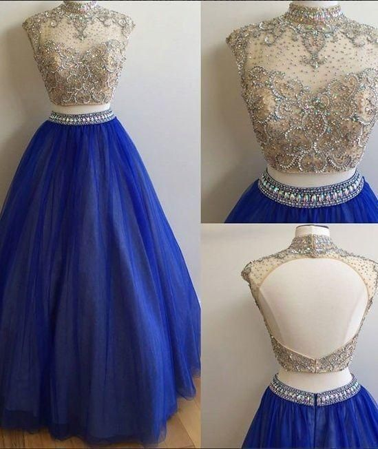 Prom Dresses Simple, Blue Tulle Prom Dresses Two Parts Crystals Women's Party