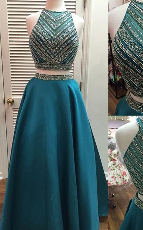 Green A Line Scoop Neck Satin Tulle Beading Sleeveless Two Pieces Long Prom
