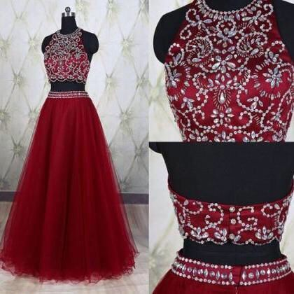 High Quality Prom Dress,Tulle Prom Dress,Beading Prom Dress,Two Pieces Prom