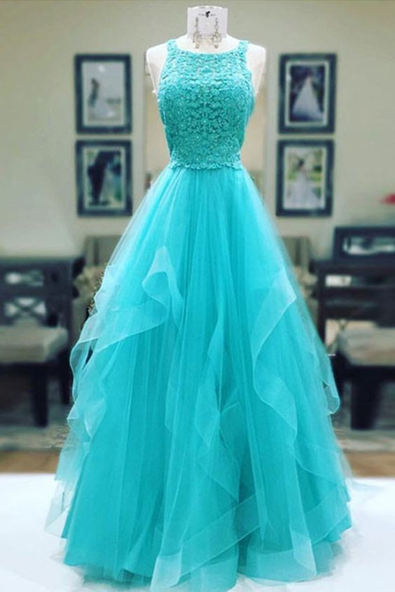 Turquoise tulle long lace prom dress, ruffles evening dress,prom dress