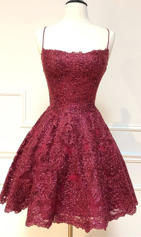 formal short homecoming dresses, spaghetti straps cocktail party dresses,