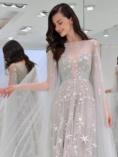 Fashion elegant star long round neck evening dresses 2751