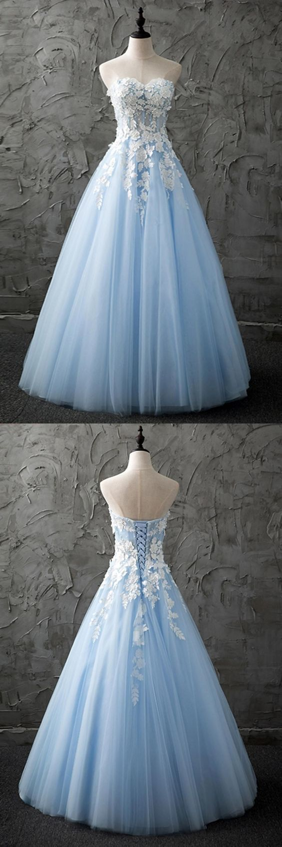 light blue sleeveless strapless prom dress,tulle applique lace sweetheart