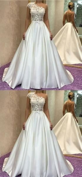 White party dress one shoulder evening dress satin long prom dress lace applique