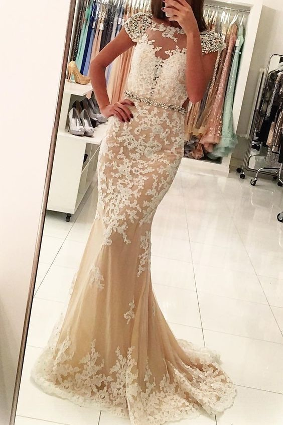 mermaid evening dresses long champagne lace appliqué elegant cap sleeve modest