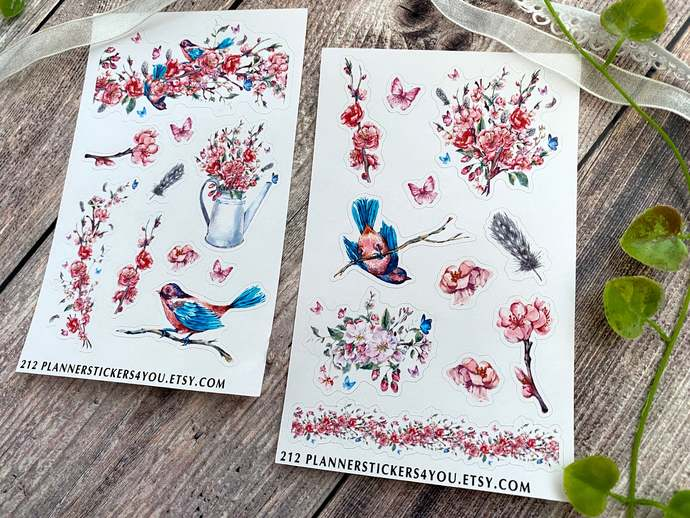 Cherry Blossom Journal Stickers, Plant, Blooming, Botanical, Flowers, Birds 212
