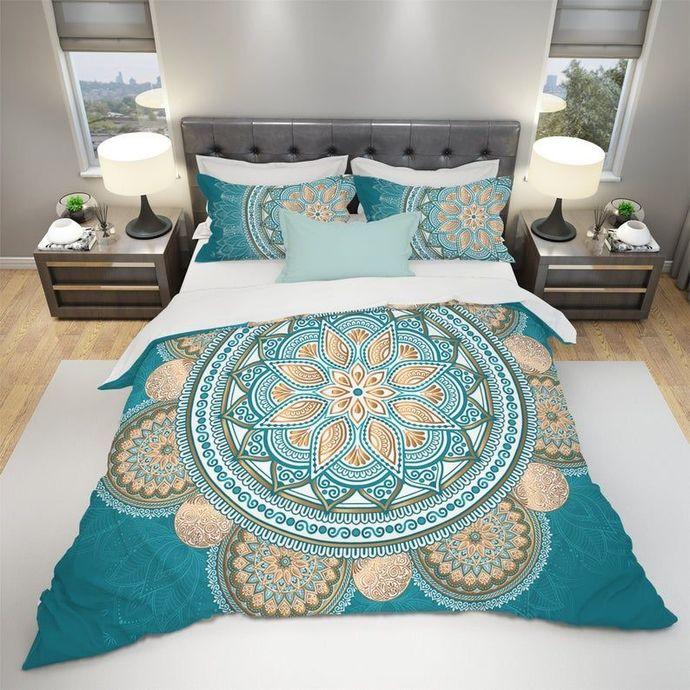 Blue Gold Boho Bedding Set