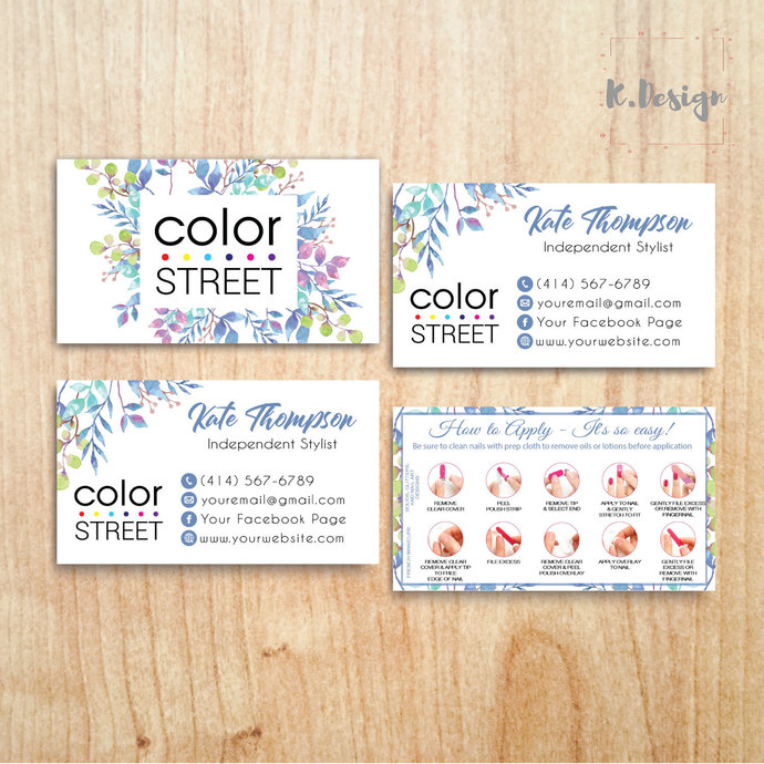 COLOR STREET BUSINESS CARDS, PERSONALIZED COLOR STREET APPLICATION CARDS CL34