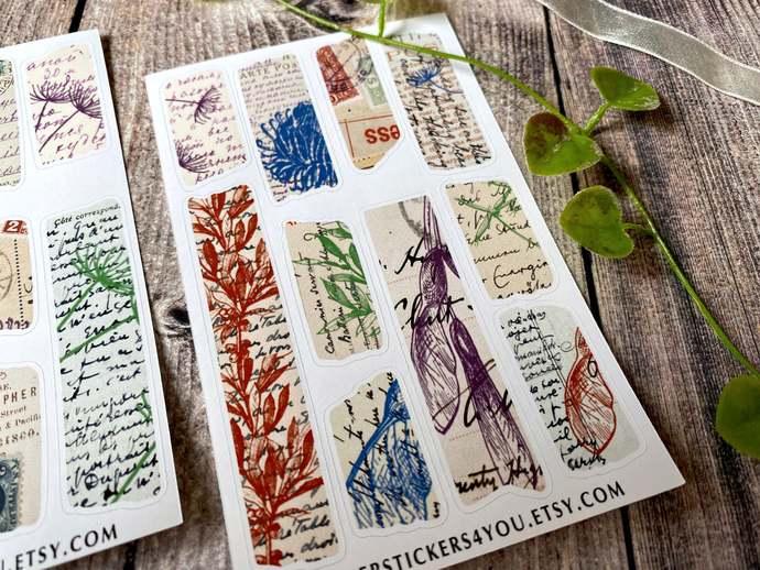 Washi Tape Planner Stickers, Retro, Botanical Letters, Handwritten, Bullet